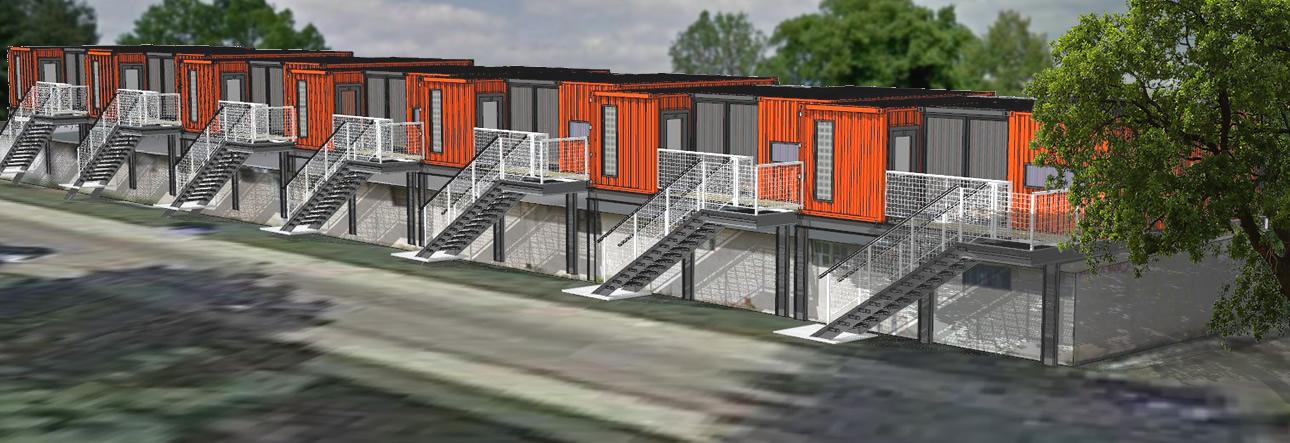 Kontejnerové byty nad garážemi