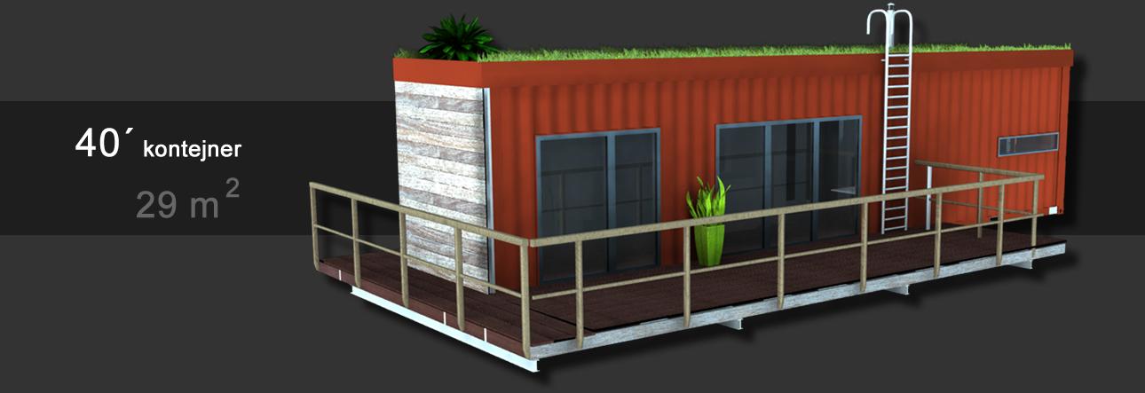 Kontejnerová chata u řeky